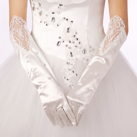 Top Quality Half Long Satin Applique Wedding Bridal Gloves