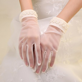 Fine Pearls Short Wedding Gloves