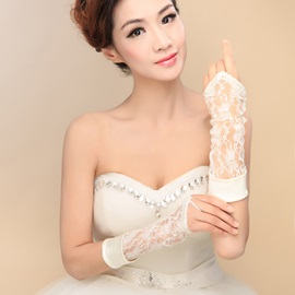 Long Sleeve Lace Fingerless Wedding Gloves