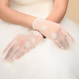 Beaded Appliques Ivory Bride Gloves