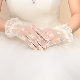 Free Size Ivory Lace Wedding Gloves