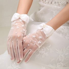 Dazzling Beaded Bowknot Ivory Dot Net Wedding Gloves