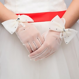 Fine Bowknot Wedding Gloves
