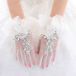 Rhinestone Lace White Tulle Wedding Gloves