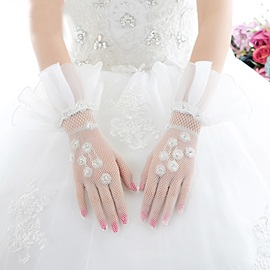 Short Ivory Tulle Wedding Gloves