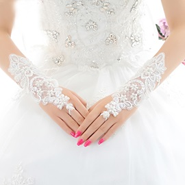 Charming White Lace Fingerless Wedding Gloves