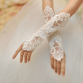 White Appliques Fingerless Wedding Golves