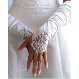 Fingerless Wrinkled Gloves with Lacy Trim(3colors)