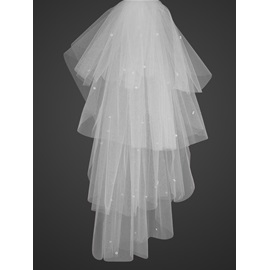 Lovely Tidebuy Blusher Wedding Veil with Cut Edge