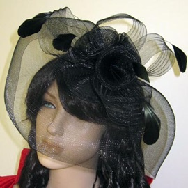 Black Net with Rhinestone Wedding Bridal Hats