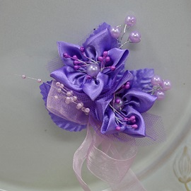 Delicate Purple Cloth Flower Corsage Wedding Bridal Corsage