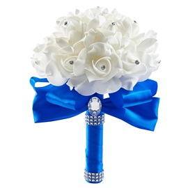 Beaded White Rose Wedding Bridal Bouquet
