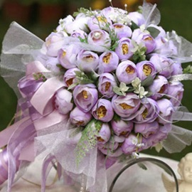 Charming Light Purple Silk Cloth Bud Wedding Bridal Bouquet