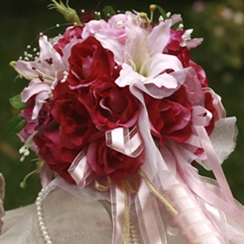 Pretty Red and Pink Silk Cloth Wedding Bridal Bouquet
