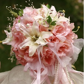Soft Pink Silk Cloth Wedding Bridal Bouquet with White Lily