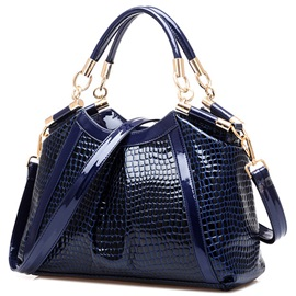 Classy Patent Leather Alligator Pattern Satchel