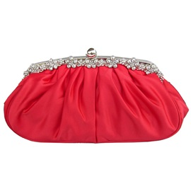 Satin Bead Decorated Pleated Women's Clutch