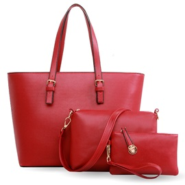 European Style Solid Zipper Women Bag Set