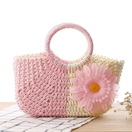 Hollow with Flower Adornment Women Straw Bag