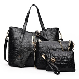 Elegant Croco-embossed Patchwork Bag Set