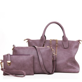Chain Decorated Pure Color Women's Bag Set ( Three Bags )