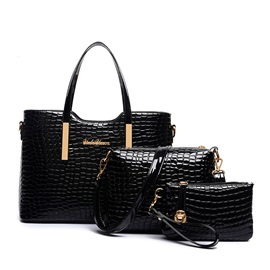 Chic Embossing Pure Color Women's Bag Set ( Three Bags )