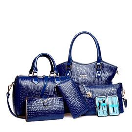 Pure Color Embossing Women's Bag Set ( Six Bags )