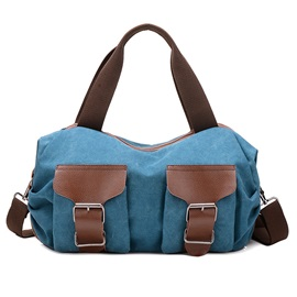 Casual Belt Decorated Canvas Bag