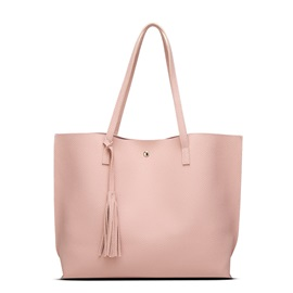 Roomy Litchi Grain Magnetic Snap Closed Tote Bag