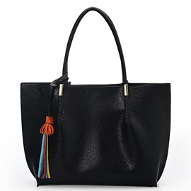 Fashion Soft Leather Colorful Tassel Tote Bag