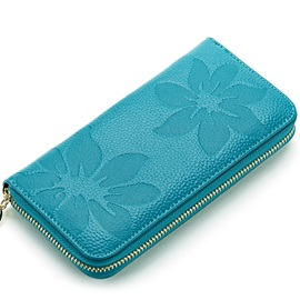 Flower Embossed Zipper Long Type Wallet