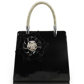 Solid Pattern Leather Big Flower Decor Tote Bag