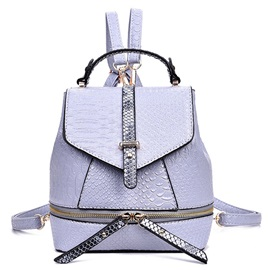 Korean Elegance Solid Color PU Backpack