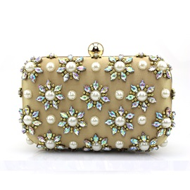 Diamante Beaded Floral Evening Clutch