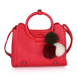 Vintage Circle Handle Solid Color Women Satchel