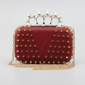 Trendy Rivets Decorated Evening Clutch