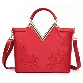 Charming Flower Embroidery Nylon Women Satchel