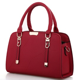Concise Temperament Solid Color Thread Decorated Women Satchel