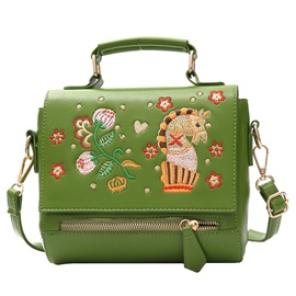 European Style Simple Embroidery Flower PU Satchel