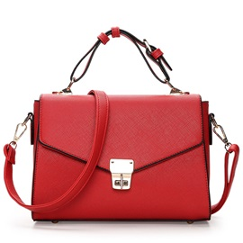 Leisure Cross Grain Spin Lock PU Satchel