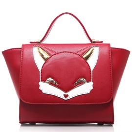Fox Head Pattern Pure Color Satchel