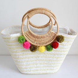 Lovely Fluffy Ball Decorated Knitted Fabric Bag