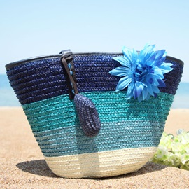 Color Block Flower Decorated Knitted Fabric Bag