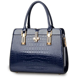 Crocodile Grain Solid Color Satchel