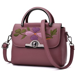 Leisure Solid Color Embroidery Satchel