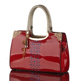 Trendy Hollowed Patent PU Satchel