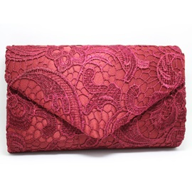 Graceful Lace Pattern Envelope Evening Clutch