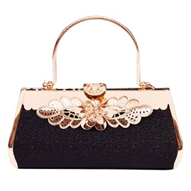 Graceful Diamante Floral Design Evening Clutch