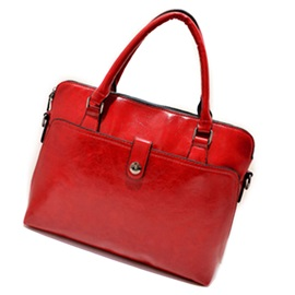 Simple Solid Color Zipper Women Satchel