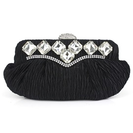 Solid Color Pleated Rhinestone Adornment Clutch